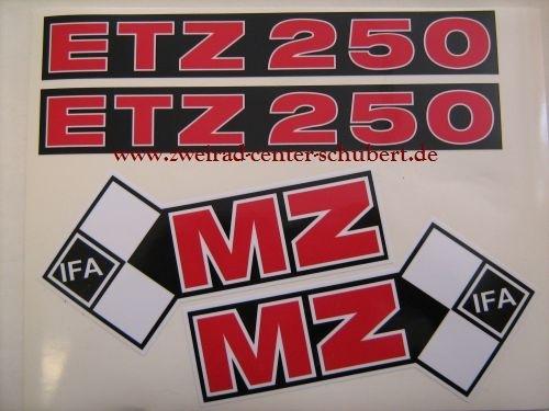 Aufkleber Satz Für Mz Etz 250 Letzte Ausführung Rot Schwarz Weiß